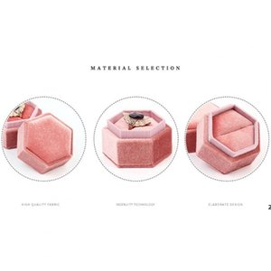 Gift Wrap Portable Vintage Velvet Ring Jewelry Necklace Organizer Hexagonal Storage Box Present Packaging Boxes For Jewellry DHD7137