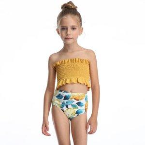 Toddler Kids Girls Two Piece Swimsuit Ruffles Bikini Set Swimwear Beach Sport Crop Top Diving Surfing Swimming Clothes One-Piece Suits