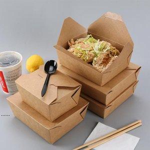 Boîte de nourriture en papier kraft de bonne qualité Boîte d'eau Restauration rapide Restauration Fast Food Boîtes à emporter Jetables Boîte à lunch poulet au poulet frit Sushi Salade NHF6899