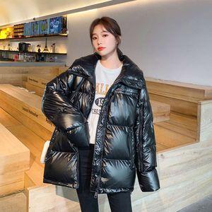Down Jacket Automne Hiver Cuir Brillant Version coréenne Femme Courte Loisirs Pain Vêtements Montrer mince et épaisse Veste en coton Femmes