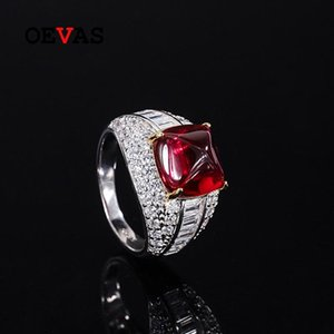 Cluster Rings OEVAS 100% 925 Sterling Silver 10*10mm Tower Ruby Full High Carbon Diamond For Women Sparkling Wedding Party Finr Jewerly