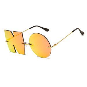 Óculos de sol carta de moda sem óculos luxo marca designer mulheres metal senhoras tendências de vidro uv400 tons gafas de sol