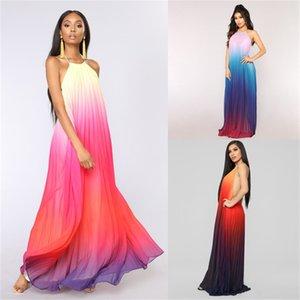 Шифон женские летние платья градиент цвет без рукавов женщины Maxi платья дизайнер свободно сексуальные Vestidos de Mujer