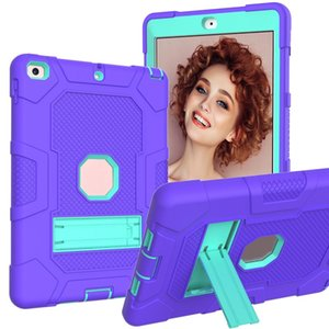 Tablet Cases for ipad 9.7 3 in 1 silicone+PC Shockproof Rugged Protective Case with Kickstand
