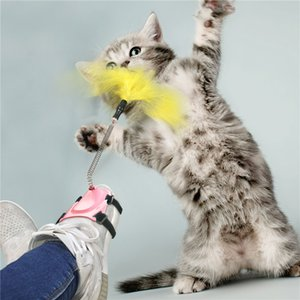 2021 Cat Toy Interactive Feather Wand Teaser Stick Elastic Kitten Funny Teasing Foot Playing Pet Products for Cats Supplies