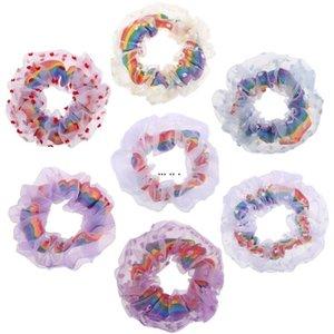 Saç Halkası Gökkuşağı Net İplik Hairbands Ev Tekstili Kızlar Renkli Scrunchies Kafa Elastik Şapkalar Scrunchy HWE5338