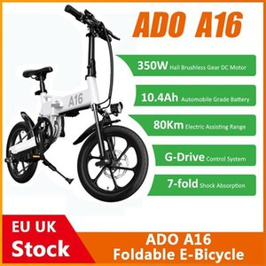 [EU Stock] ADO A16 Foldable Electric Bicycle 16'' Tire 350W DC Motor 25km h Max Speed Men City BIke Mountain Ebike High Quality