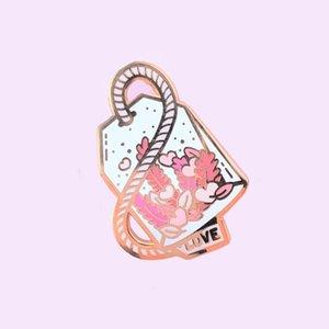 Pink Herbal Flower Love Potion Enamel Cute Pins Black Tea Drinkers Lapel Pin Gifts Badge Brooch
