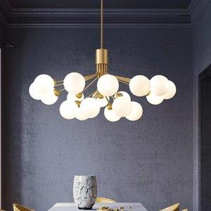 مصابيح الشمال قلادة فرع الزجاج فقاعة الظل الثريا الإضاءة الحديثة غرفة المعيشة مصباح غرفة نوم رومانسية الذهب شنقا أضواء تركيبات الصمام
