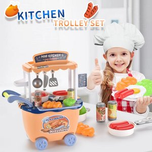 Mini Kitchen Cart Trolley With Food Set Toys Pretend Play House Simulation Vegetables Utensils Baby Educational Funny Toy