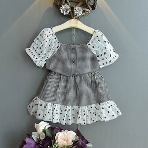 Clothing Sets Girls Kids Suits Baby Outfits Summer Cotton Lace Short Sleeve Plaid Skirts 2Pcs Cute Princess Children Clothes 2-6T B4586