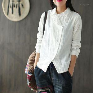 Simple Solid Color Long Sleeve Loose Shirt Famale Designer Comfortable Top Womens Vintage Diagonal Casual Shirt