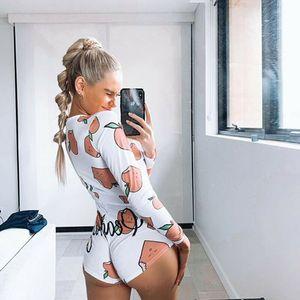 Seksi Kadınlar Artı Boyutu Onesies Pijama Uzun Kollu Pürüzsüz Seksi Tulum Şort Düğme Pijama Kelebek Onesies 248 Z2