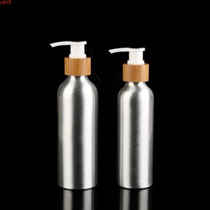 Cosmetic package 24 410 30ml 50ml 100ml 120ml 150ml 250ml Luxury perfume aluminum bottle with bamboo spray pump lotion capgoods