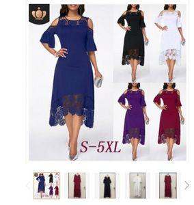 Yaz Dantel Dikiş Ruffled Kısa Kollu Kazak Katı Renk Elbise Günlük Elbiseler