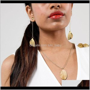 Wholesale Stainless Steel Gold Silver Colour Leaves Femme Charm Earring Women Choker With Pendant Leaf Jewelry Sets Xqc5R Earrings Vgr31