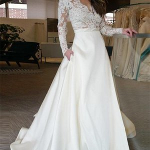 Cheap Long Wedding Dress With Illusion Long Sleeves Lace See Through Top Skirt With Pockets Designer A line Bridal Dress Wedding Gowns