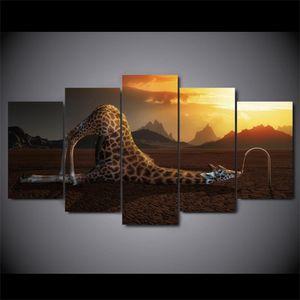5 Panel Giraffa Trinkwasser Wandkunst Bilder Malerei Abstrakte Leinwand Poster Home Decoration Für Wohnzimmer
