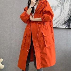 Women's Trench Coats Jacket Zipper Mid-length Windbreaker Loose Collect Waist Woman Coat Street Prevalent