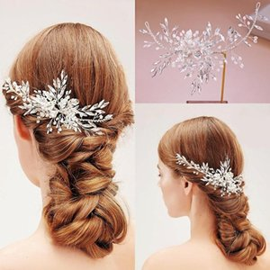 Luxury Handmade Rhinestone Hair Combs Crystal Pearls Floral Wedding Accessories Women Headpiece Hairgrips Clips For Bride & Barrettes