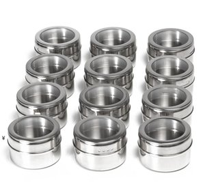 Factory Herb Spice Tools Jars Magnetic Stainless Steel Shaker Round Storage Tank Set Herbs on Fridge and Grill NHE6279