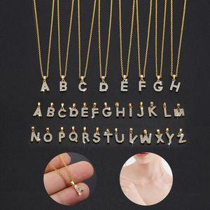 A-Z 26 lettres Femmes Femmes Collier initial en gros Entretine en acier inoxydable Lettre Colliers Bijoux Pendentif de caractère créatif pour les filles été