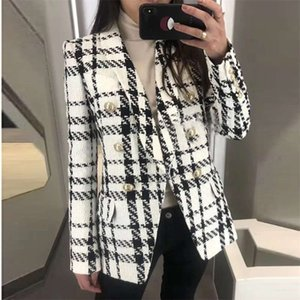 HIGH STREET est Designer Blazer Jacket Women's Shawl Collar Double Breasted Lion Buttons Plaid Tweed 210929