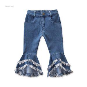 الربيع مضيئة كيد السراويل 2020 طفلة جينز الشرابة ليوبارد الطبقات هول الطفل الدينيم السراويل مرونة الخصر متعدد الألوان 30ym