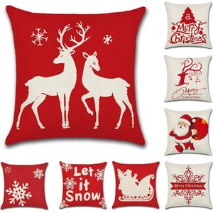 Pillow Case Christmas Pillowcase 4 Piece Set Cushion Cover Red Festive Tree Old Man Snowflake Deer Silhouette