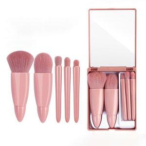 5Pcs Blush Foundation Eye Shadow Makeup Brushes Soft Plastic Handle With Mirror Brush Set Portable Beauty Tools