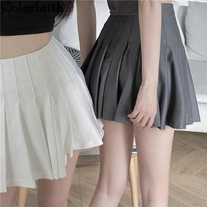 Colorfaith 2021 Spring Summer Women Skirts Pleated Irregular High Waist Korean Style Fashionable Wild Lady Mini SK372