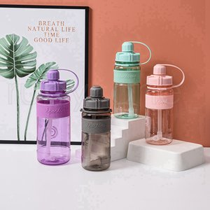 1000ml Plastic Water Bottle With Straw Leak Proof Large Capacity Plastic PC Sport Camping Reusable Drinking Bottles Sea Shipping RRE5395