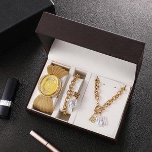 Wristwatches 3-piece Fashion Creative Oval Women's Quartz Watch Set Hip Hop Titanium Steel Trend Ot Buckle Jewelry Gift Box