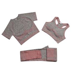 Toptan satış yüksek kaliteli patlama sorunsuz yoga suit bayan sonbahar ve kış yeni örgü kalça streç spor sporları üç parçalı takım elbise