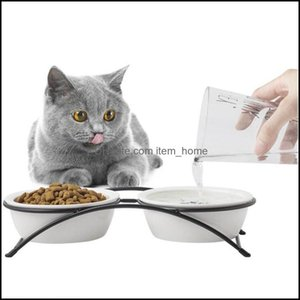 Dog Supplies Home Gardendog Bowls & Feeders Cat Bowl Ceramic Neck Protection Iron Shelf Orthopedic For Feeding Food Water With Stand Cats Pe