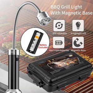 Flashlights Torches 1pc 9 LED BBQ Grill Light Outdoor Super Bright Magnetic Base Barbecue Lights Soft Tube Torch Lighting Lamp Dr