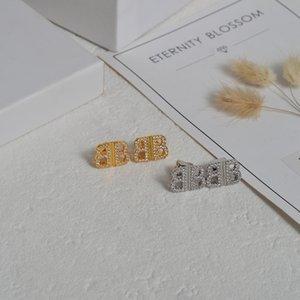 Backs Earrings b Family Full Diamond Doule Letter and