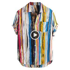 Мужские повседневные рубашки одежда мода высококачественные мужские дизайн роскошный стильный мужской мужской многоцветный кусок грудной клетки кармана с коротким рукавом круглая сыпучая блузка дышащая