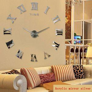 Wall Clocks 3d Large Roman Numerals Clock Modern Design For Living Room Mirror Silent Quartz Watch Sticker Klok