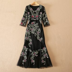 European and American women's wear for spring 2021 Seven-quarter sleeve V neck mesh heavy embroidery Fashionable fishtail dress