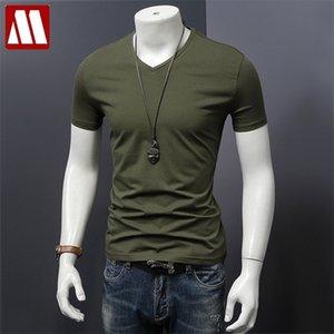 mydbsh 남자 브랜드 의류 여름 솔리드 티셔츠 남성 캐주얼 Tshirt 패션 망 짧은 소매 플러스 크기 5xl 전체 210319