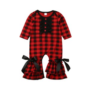 Newborn Infant Kids Baby Girls Boys Romper Ruffles Bow Plaid Print Long Sleeve Jumpsuits Clothes Outfit 0-24M