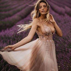 Party Dresses Sexy Crystal Bead Diamond Tulle High Slit Long Abiye Fairy Prom Dress V Neck Pink Evening
