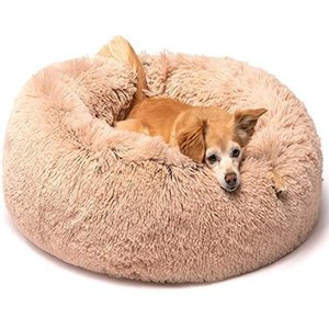 Kennels & Pens Round Plush Dog Bed Basket Kennel Cat House Winter Warm Sleeping Bag Cats Nest Soft Long Pet Cushion For Medium Large Dogs