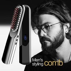 Wireless Mini Hair Comb Mens Quick Beard Brush Straightener Portable Electric USB Charging Combs For Men Beard
