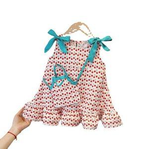 girl summer skirt Princess Dress tutu children sleeveless dresses Girls fashion stripe baby clothes Bow cute dress shoulder bag set 2color G71JQBY
