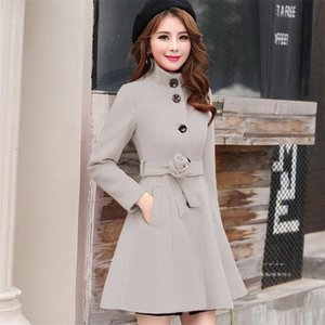 Wollmischungen der Frauen 2021 Wools Mantel Weibliche Mantel Herbst Winter Mäntel und Jacken Gürtelkleider Elegante langes Tops