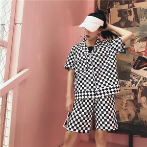 Plaid Shorts 2 Piece Set Unisex Women And Men Suit Summer Short-sleeved T Shirt + Short Outfit Casual Two Streetwear Women's Tracksuits