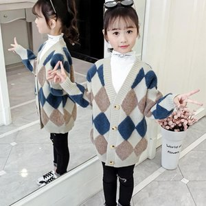 Pullover Girls Sweater Baby's Coat Outwear 2021 Elegant Plus Velvet Thicken Warm Winter Autumn Knitting Cardigan Jacket Children's Clothi