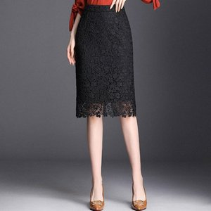 Spring Summer 2019 Woman High Waist Lace Pencil Skirt Korean Style Black Slim Fit Bodycon Midi Skirt Elegant Office Lady 15cz#